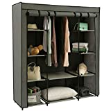 Homebi Clothes Closet Portable Wardrobe Durable Clothes Storage Organizer Non-Woven Fabric Cloth Storage Shelf with Hanging Rod and 10 Shelves for Extra Storage in Grey, 59.05
