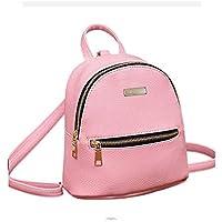 JSPM® PU Leather Mini Backpack School Bag Student Backpack Women Travel bag Tuition Bag Backpack (Pink SP-0342)