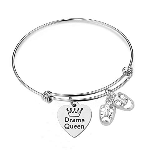 BNQL Drama Queen Theater Bracelet Comedy Tragedy Masks Charm Bracelet (Silver)