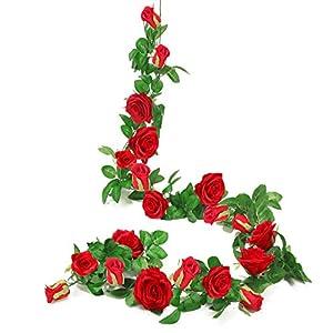 DerBlue 2 Pcs 13.2 Feet Artificial Rose Vine Flowers Plants Artificial Flower Hanging Rose Ivy Home Hotel Office Wedding Party Garden Craft Art Décor 4