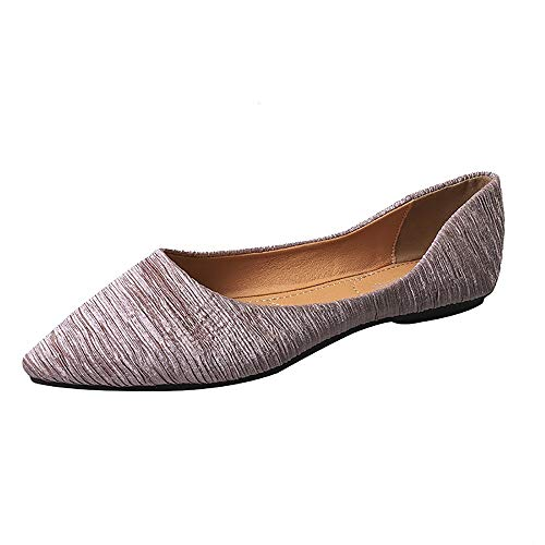 Meeshine Women's Pointy Toe Ballet Flats Comfortable Slip-on Classic Dress Shoes (Classic-Pink US 8.5)