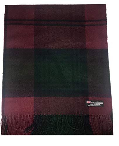 2PLY 100% Cashmere Blanket Oversized Scarf Tartan Check Made in Scotland Wool Plaid (Dark Red Green Tartan Plaid)