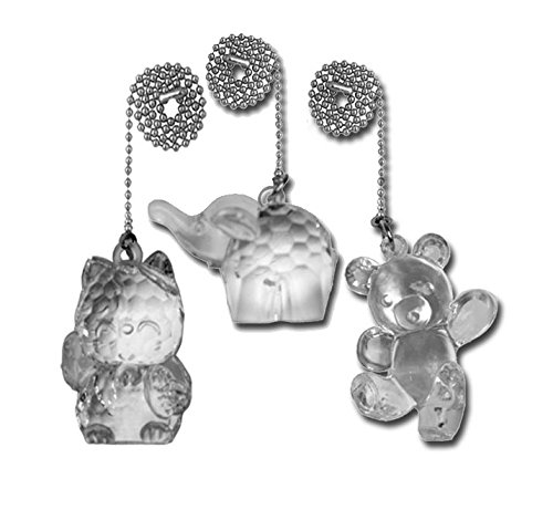 Acrylic Pull Chain - Decorative Acrylic Ceiling Fan Pull Chains for Kids Room, Nursery, bedrooms. Cat, Elephant and Bear 3 Pack with Beaded Chain - FA130