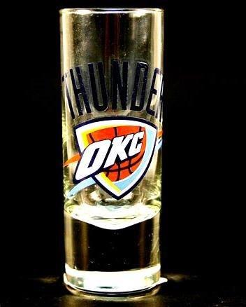 Oklahoma City OKC Thunder NBA Licensed Glass Cordial Logo Hype Shot Glass (2 Oz.) Team Logo