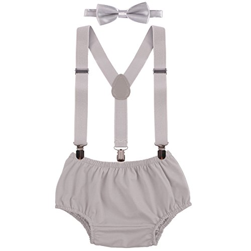 Baby Boys Cake Smash Clothes Diaper Suspenders Pants Bow Tie 3PCS Set First 1st 2nd Birthday Outfit for Photo Prop Party Gray 3-24 Months