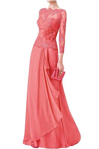 mia Abendkleider Damen Braut La Langarm Spitze Abschlussballkleider Wassermelon Etuikleider Brautmutterkleider 6Oqwwd