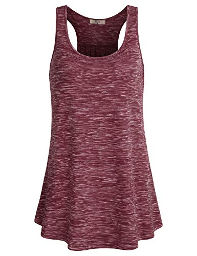 Cestyle Tanks for Women, Women's Sleeveless Round Neck Summer Casual Shirts Athleisure Wear Excercise Clothing Racerback Dressy Tunic Blouses Wine X-Large