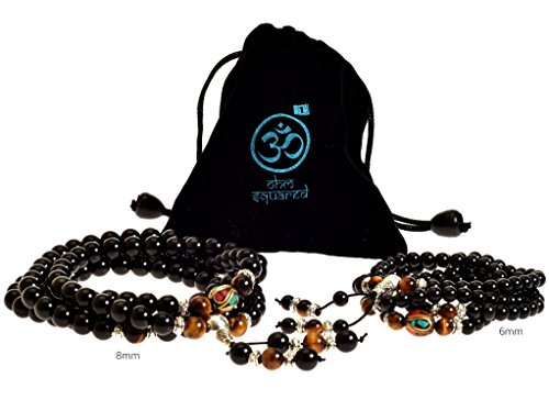 Mala Beads Tibetan Meditation Buddhist Genuine Black 108 Obsidian Healing Stones Tiger Eye Gemstone Wrist Bracelet / Bead Necklace - For Prayer, Yoga, Mantras, Reiki, Mudras, Energy Work Black Stone Eye