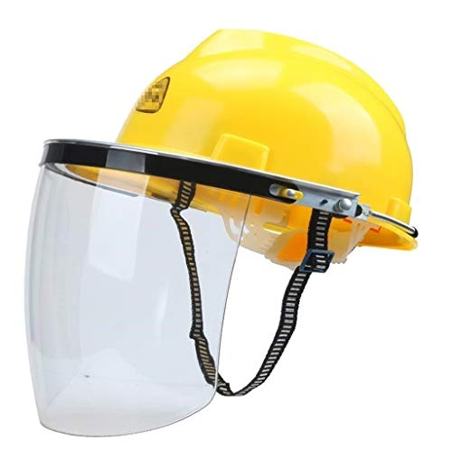 LQQFF Construction Worker Helmet Work Helmet Welding Helmet Chemical Cap Type Coal Mine Cutting Machine Lawn Mower Woodworking Splashing Oil Grass Protection Work Helmet (Color : White) ()