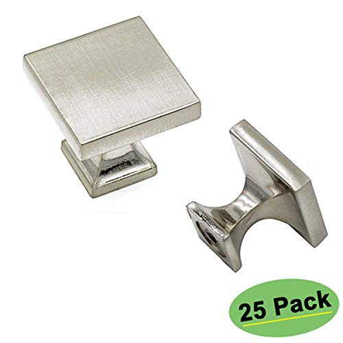 Homdiy Brushed Nickel Cabinet Knobs 25 Pack HD6785SNB Soild WxW:1 1/2inch
