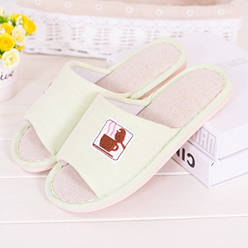 JUIOKK Guesting Linen Summer Spring Unisex Green Shoes Slippers Womens Indoor Light Slippers Shoes Mens Bedroom Floor Flax rAxrOnPgf