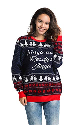 Unisex Women's Ugly Christmas Sweater Funny Single Ready to Jingle Xmas Pullover - Merry Matchmaker, Medium (Single Womens)