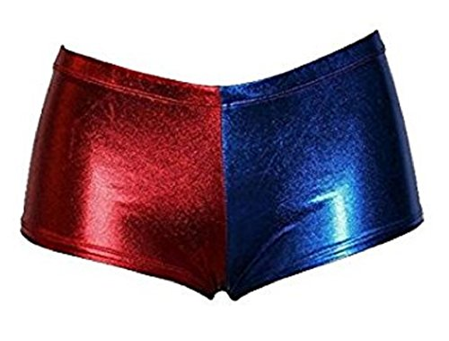 Womens Suicide Squad Harley Quinn Inspired Booty Short Pants Nikker Top (S-M, Red Blue Nikker) (Harley Quinn Costume Pants)