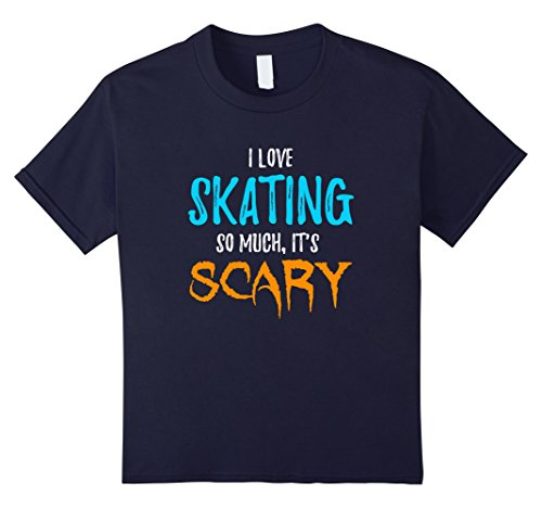 [Kids I Love Skating T-Shirt as Skaters Scary Halloween Gift 12 Navy] (Ice Skating Costume Ideas)