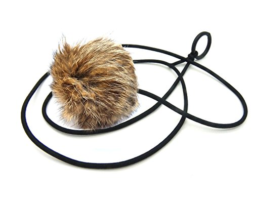 Bouncy Ball Rabbit fur String Cat Toy Jumbo Size (Natural) ()