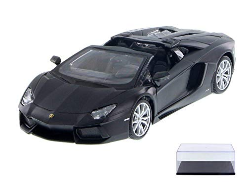 Diecast Car & Display Case Package - Lamborghini Aventador LP 700-4 Roadster, Matte Black - Maisto 34504 - 1/24 Scale Diecast Model Toy Car w/Display Case