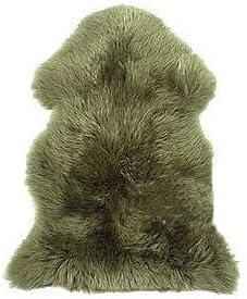 SW9684-mo New Genuine Sheepskin Fur Leather Pelt Rug Moss color