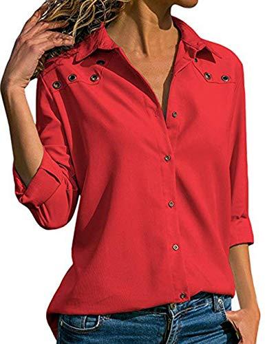V Mousseline Casual Rouge Femme T Chemise lgant Chemisier Chic Classique Hauts Longue Shirts Manche Blouse de Tops Tunique Col Longue Taille Bouton Soie Grande Tee YBnax0n