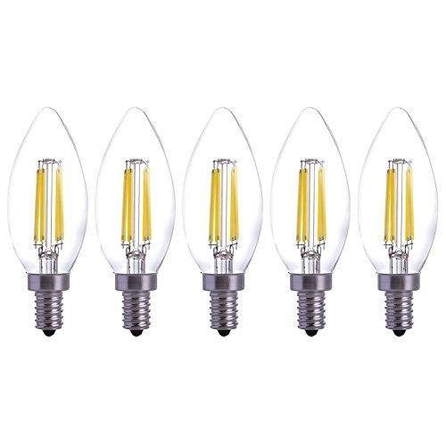 YT 5pcs/Pack E12 LED Filament Candle Light Bulb Incandescent 40W Bulb Daylight 6000K 360 Degree Beam Angle for Home,Restaurant,Droplight,Wall Lamp YT-C35-03