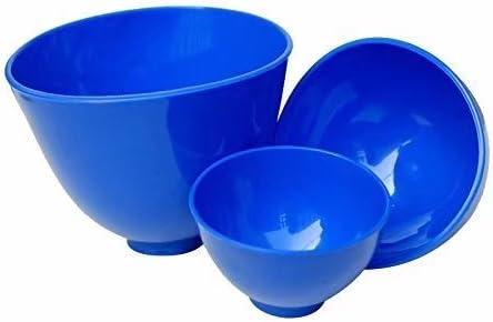 Mkdental tre pezzi blu nuovo spatole in silicone flessibile ciotole con grip