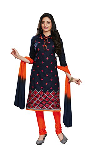 Oomph! Women's Unstitched Salwar Suit/Dress Material/Embroidered Cotton Dress Material, Blue