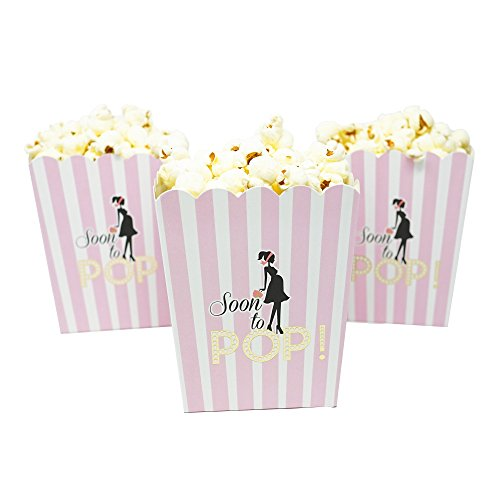 'Soon To Pop' Popcorn Favor Box for Baby Shower Party, Small Size, 20 Count by Chloe Elizabeth (Soft Pink)