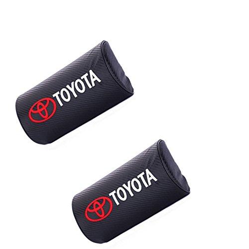TOYOTA (Car Accessory Warehouse Exclusive) Logo Emblem 3D Black Soft Carbon Fiber Weave CF Neck Pillow Foam Cushion Pad Head Support Neck Rest Car (4runner Hybrid)