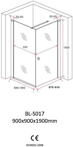 Duschkabine 90x90 cm Eckdusche Duschabtrennung Dusche Pendelt/ür Duscht/ür Schwingt/ür Duschwand ESG Sicherheitsglas NANO-Beschichtung