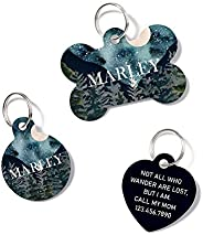 waaag Pet ID Tags, Personalized Watercolor Moutain Forest Starry Night Landscape Pet ID Tags, Dog Tag, Cat Tag