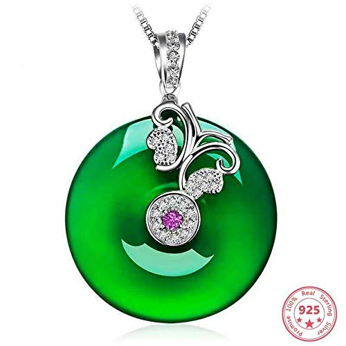 (QMM necklace Pendant Green Chalcedony Emerald Pendant Necklace 925 Sterling Silver Turquoise Clavicle Chain Jade Jewelry for Women)