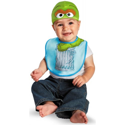 Disguise Costumes Drool Over Me Sesame Street Oscar Infant Bib and Hat  Accessory, Green/Blue, 6-12 Months