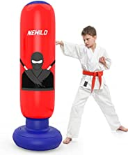 Newild Kids Punching Bag, Inflatable Freestanding Punching Bag for Kids and Adults, 63 Inch Immediate Bounce B
