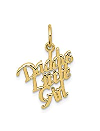 10k Yellow Gold Daddys Little Girl Pendant Charm Necklace Fine Jewelry For Women Gift Set