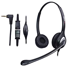 Wantek 2.5mm Telephone Headset Binaural with Noise Canceling Mic + Quick Disconnect for Cisco Linksys SPA Polycom Grandstream Panasonic Zultys Gigaset Office IP and Cordless Dect Phones (602QJ25)
