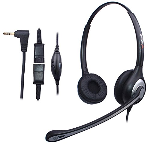 Wantek 2.5mm Telephone Headset Binaural with Noise Canceling Mic + Quick  Disconnect for Cisco Linksys 54901e02730e