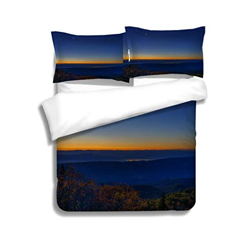 MTSJTliangwan Family Bed Morning Dark Sunrise with Blue Sky and Golden Yellow Orange Autumn Foliage in Dolly Sods Bear 3 Piece Bedding Set with Pillow Shams, Queen/Full, Dark Orange White Teal Coral