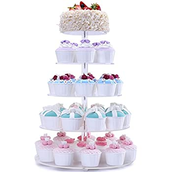 BonNoces 5 Tiers Round Acrylic Pastry Wedding Cupcake Stands Tower  Tree Cupcake Carrier Clear Tiered Cake Stand Tall Jumbo Round Dessert Stands Cupcake  ...