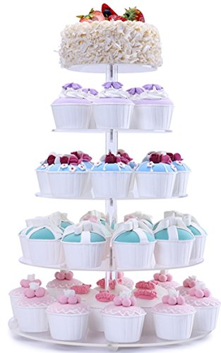BonNoces 5 Tiers Round Acrylic Pastry Wedding Cupcake Stands Tower Tree-Cupcake Carrier-Clear Tiered Cake Stand Tall Jumbo-Round Dessert Stands-Cupcake Display Stand ()