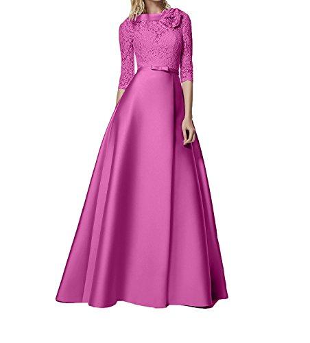 Pink Bodenlang Charmant Abendkleider Spitze Partykleider Lang A Romantisch Abiballkleider Damen Rock Linie Rosa 7wq87raT