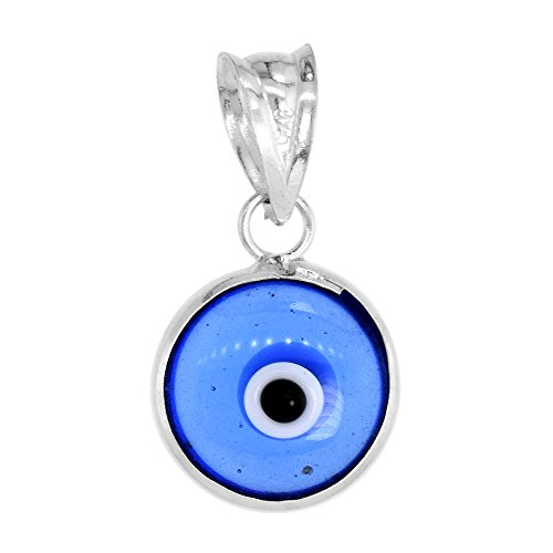 Sterling Silver Evil Eye Pendant Tanzanite Blue Color - Evil Eye Silver Necklace Pendant