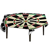 Sports Detachable Washable Tablecloth Dart Board Numbers Sports Accuracy Precision Target Leisure Time Graphic Great for Parties Festivals etc. W36.2 x L36.2 Inch Vermilion Green Black