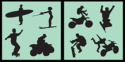 CIL-ACTIONSPORTS01-10 - Detailed Extreme Action Sports Stencil Set - Surfing, Skating, Snowboarding, MX, and More! - 10-by-10-inch Sheets - (2) Piece Kit - Pair of Sheets ()