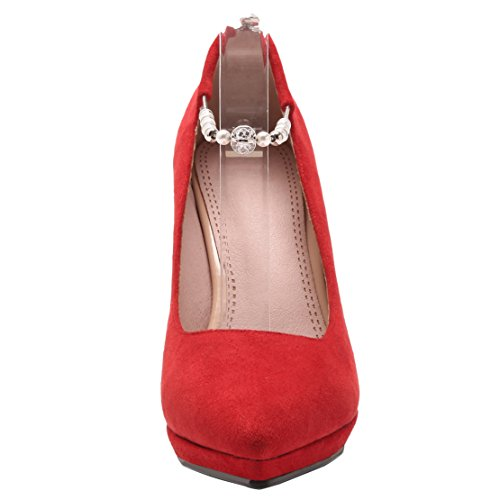 outlet store 6eae5 fb423 Tobillo Rojo De Piel Mujer Aiyoumei Tira z6HwqxPU