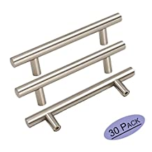 30Pack Goldenwarm Stainless Steel Kitchen Cabinet Door Handles Brushed Nickle T Bar Drawer Pull Knobs 1/2 inch Diameter Hole Spacing 96mm 3-3/4in