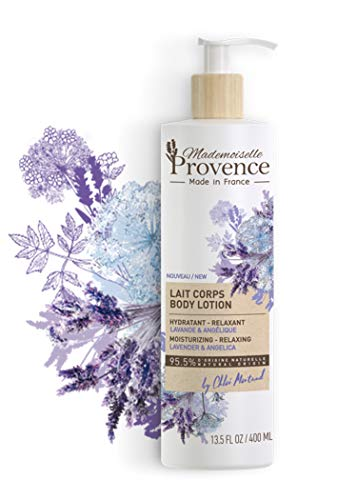 Mademoiselle Provence Natural French Lavender Body Lotion with Angelica Extracts, Luxurious Relaxing and Soothing Body Cream with Sunflower Seed Oil, Calming Vegan Moisturizer, 13.5 fl oz