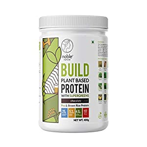 Noble Nature Plant Protein Powder with Supergreens | 25 gm Protein Per Serving | Pea Protein, Brown Rice Protein…