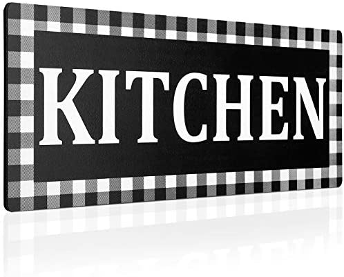 Wooden Kitchen Sign Wall Decor 13.8 x 5.1 Inches Rustic Buffalo Plaid Wall Sign Black and White Vintage Farmhouse Kitchen Decor for Home Kitchen Dining Room Restaurant Coffee Shop (Black)