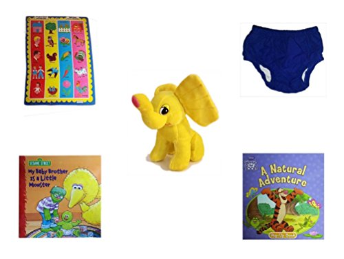 Children's Gift Bundle - Ages 0-2 [5 Piece] Includes: Push Out Puzzler Match and Learn, Circo Infant Reusable Swim Diaper Royal Blue Size L 24 Months 22-25 lbs, Yellow Elephant Plush, Sesame Street by Secure-Order-Marketplace Gift Bundles