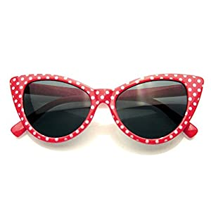 Polka Dot Cat Eye Womens Fashion Mod Super Cat Sunglasses (Red, 0)