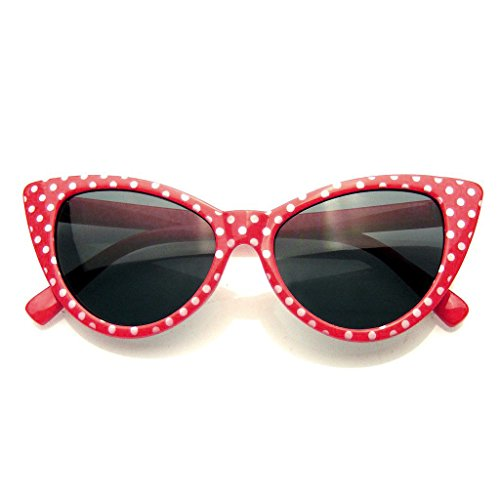 Polka Dot Cat Eye Womens Fashion Mod Super Cat Sunglasses (Red, - Trendy Sunglasses Online